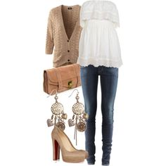 jeans, beige sweater outfit.... I love the beige sweater! I want to get a beige sweater really bad I have a white shirt and jeans I would wear sperrys instead of heals because I don't wear heals but I definitely need more jewelry