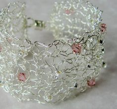 Chic Modern Open Lacy Wire Cuff Bracelet. Hand Knit with Sparkling Swarovski Crystals and Toho Seed Silver Lined Beads.