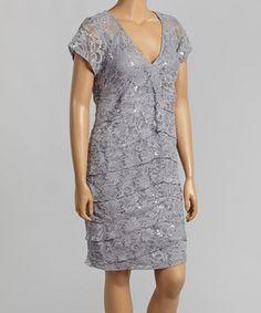 Look at this #zulilyfind! R&M Richards Silver Tiered Lace V-Neck Dress - Plus by R&M Richards #zulilyfinds