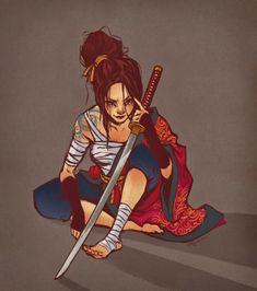 "we-are-rogue:  ""  Female Ronin by Joy Hua  ""Rewatched Samurai Champloo and got inspired to draw rogue samurais!  ""  @wearesamurai  """