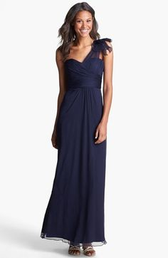 Amsale Illusion Shoulder Crinkled Silk Chiffon Dress available at #Nordstrom