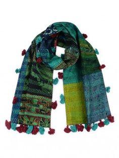 Green-Blue Silk Kantha Embroidered Stole