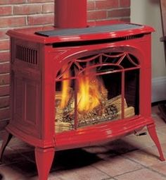 The Stove Shop has a huge selection of gas burning units. Gas is the fuel of choice for customers who want the heat and look of a wood fire without all the hastle. Into The Woods, Cabins In The Woods, Timber Logs, Vintage Stoves, Small Fireplace, Red Cottage, Shades Of Red, Home Look, Hearth