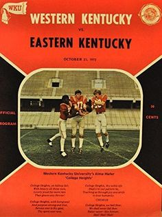 October 21, 1972 Western Kentucky Vs. Eastern Kentucky Football Program