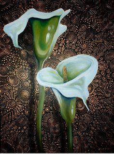 "'Arum Lilies' - Cherie Dirksen: acrylic on boxed canvas 18""x24""."