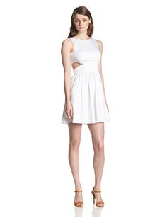 French Connection Womens Super Chick Solid Cutout Fit and Flare Dress White 10 * To view further for this item, visit the image link. (This is an affiliate link and I receive a commission for the sales)