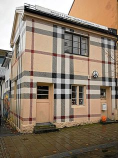 "Burberry patterned house in Norway.  This gives new meaning to the phrase ""I heart Burberry"""