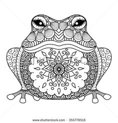 Hand drawn zentangle frog for coloring book for adult, shirt design - stock…