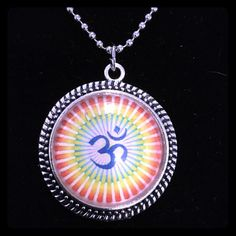 Ohm sign Pendant 1 1/2 inch round antique silver pendant on 18 inch chain Jewelry Necklaces