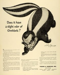 1942 Ad Young & Rubicam Inc Advertising Skunk NY Character Caricature WWII