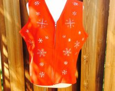 Christmas Red Fleece Snowflake Vest, Ugly Christmas Sweater Red and White Embroidered Vision Apparel, Size XL Ladies Tops, Holiday Clothing