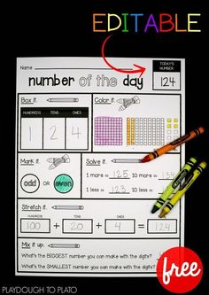 Free Number of the Day Sheet! Great for morning work, a math center, or number activity in kindergarten, first grade or second grade. #mathforfirstgrade #mathforkindergarten
