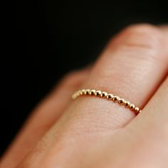 14k Gold Dotted Stacking Ring Band. $79.00, via Etsy.