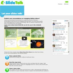 SlideTalk makes it easy to publish, edit and share PowerPoint presentations, business presentations, tutorials, eLearning material, education material and documentation of events as talking presentations, thanks to using high quality text-to-speech and image processing software to hide from you all boring details of creating a talking video, and leaving you free to focus on the creative and pedagogical tasks.