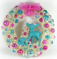 Bottle brush wreath with glitter deer