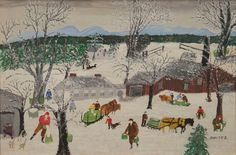 """GRANDMA MOSES (ANNA ROBERTSON) (1860-1961)  Sap Gathering  oil on masonite  signed lower right Moses  original Grandma Moses paper label on reverse includes Date of painting June 4, 1954, Number of painting 1624, and Title Sap Gathering  11 3/4"""" x 17 1/2""""  Provenance:  Hammer Gallery, 1967  Current Private Collection  Literature:  O. Kallir, Grandma Moses, New York, New York, 1973, p. 313, no. 1135, illustrated  Included Documentation:  Original Hammer Galleries bill of sale and authenticity…"""