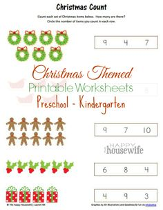 Christmas Themed Printable Worksheets ~ ideal for preschoolers/kinder   The Happy Housewife