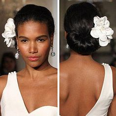 Brides: The Best of Runway Beauty. With a few exceptions (Douglas Hannant and Melissa Sweet come to mind...), designers eschewed quirky, theatrical looks and showed off styles that could leap right from the runway to the aisle. #WeddingHairDown Wedding Hairstyle Images, Black Wedding Hairstyles, Black Women Hairstyles, Bride Hairstyles, Short Hairstyles, Updo Hairstyle, Hairstyles 2016, Short Haircuts, Fringe Hairstyle