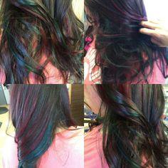 My amazing oil slick hair! Galaxy girl♡