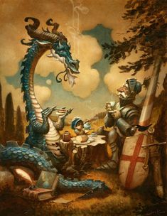 The Reluctant Dragon ~ Justin Gerard http://quickhidehere.blogspot.ca/p/gallery.html#