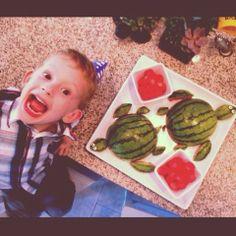 "always on my mind: Our ""shellebration"" for Jbyrd's 5th birthday! Turtle Birthday. Turtle Watermelon Idea."