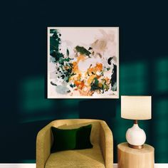This Aspen abstract print keeps this dark green living room from looking, well, too dark. I love that the art has hints of green to tied with the room's main color, but the real stars of this piece are the warm tones of yellow and orange. shop this print be an insider Get first dibs on new art, plus receive insider onl Dark Green Living Room, Dark Green Walls, Dark Walls, Living Room Art, Large Scale Art, Extra Large Wall Art, Mustard Living Rooms, Mustard Yellow Decor, Orange Rooms