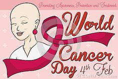 Commemorative design for World Cancer Day with beautiful woman in treatment who survived this disease, celebrating this special date.