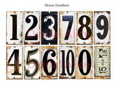Old VINTAGE METAL NUMBERS Industrial House by DigitalAlice