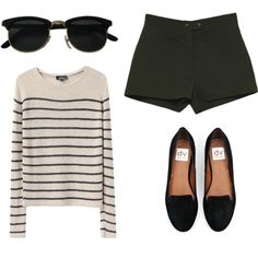 striped loose-knit sweater with shorts