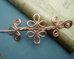 Nudo celta doble remolinos y rizos de cobre chal perno, perno de pelo, Pin bufanda, suéter broche, Barrette, Clip - accesorio del pelo, accesorios del pelo