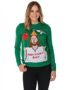Women's Ugly Christmas Sweater - Happy Birthday Jesus Sweater Green Size L