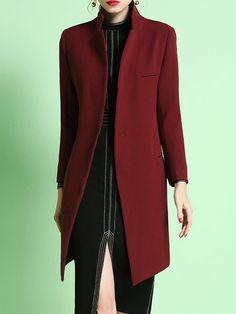 Shop Coats - Wine Red Polyester Plain Lapel Long Sleeve Coat online. Discover unique designers fashion at StyleWe.com.
