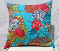 Quilted indian throw cushion kantha pillow cover outdoor ethnic pillows decorative pillows india blue kantha cushion outdoor pillow 16x16 by VDCraft on Etsy https://www.etsy.com/listing/280466220/quilted-indian-throw-cushion-kantha