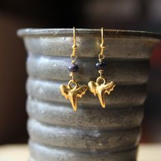 Shark Tooth Earrings with Sapphires by BoandHo on Etsy