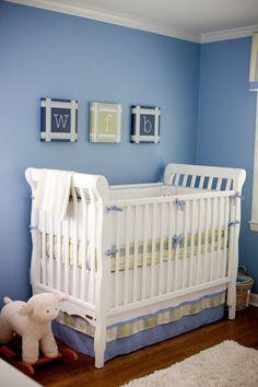 preppy blue nursery-love the color Baby Boy Rooms, Baby Boy Nurseries, Kid Rooms, Twin Cribs, Initial Wall Art, Blue Rooms, Blue Walls, Blue Colour Palette, Nursery Design