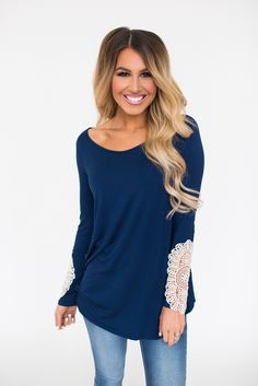 Navy Crochet Sleeve Tunic - Dottie Couture Boutique