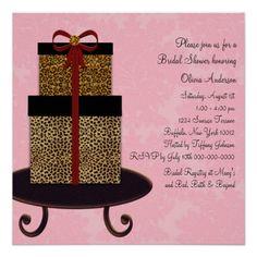 Pink Damask Leopard Gifts Bridal Shower Custom Invitation Invitations Cards