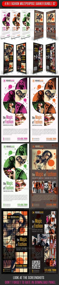 4 in 1 Fashion Multipurpose Banner Bundle 02  #GraphicRiver         4 High impact Roll-Up Banner Template Layouts, perfect for business advertisement or product promotion!  Pack included: 	 	 4 Baner Templates 		 6 PSD files totaly 		 Fully layered and editable 		 Easy to Customise 		 CMYK 150dpi  		 Print Ready 		 30×70 inches 		 32×72 inches (Print size) 		 1 inch bleed all sides 		 Safe guides, trims, Bleeds 		 Smart object placeholder 		 preview images not included  		 Readme file 	…