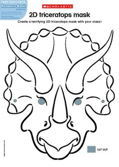Invite children to make a ferocious 2D triceratops mask!