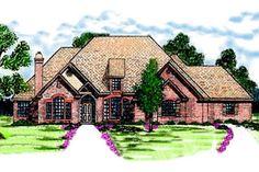 European Style House Plan - 4 Beds 2.5 Baths 2766 Sq/Ft Plan #52-117 Exterior - Front Elevation - Houseplans.com