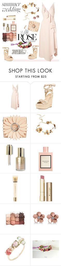 """""""Say I Do: Summer Wedding Style"""" by ellie366 ❤ liked on Polyvore featuring Wild Rose, Topshop, Kendall + Kylie, Fendi, Twigs & Honey, Stila, Gucci, Yves Saint Laurent, tarte and Allurez"""