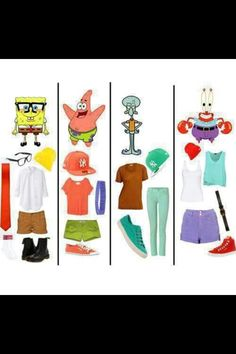 spongebob square pants)) haha I would actually wear this :p Cute Group Halloween Costumes, Cute Costumes, Halloween Kostüm, Halloween Outfits, Cartoon Outfits, Cute Disney Outfits, Disney Clothes, Disneybound Outfits, Halloween Kleidung