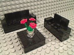 Lego Living Room Furniture Black Sofa Love Seat Coffee Table Roses Couch Leather | eBay