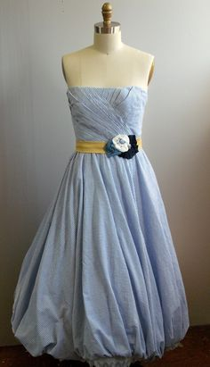 Seersucker gown with flower sash by BlueSparrowBridal on Etsy https://www.etsy.com/listing/123616957/seersucker-gown-with-flower-sash