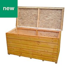 Shire Wooden Garden storage box - B&Q for all your home and garden supplies and advice on all the latest DIY trends Outdoor Storage Boxes, Wooden Garden, Diy Box, Garden Supplies, Outdoor Furniture, Outdoor Decor, Home And Garden, Home Decor, Garden Ideas