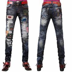 Designer Denim Blue Applique Emo Punk Rocker Jeans for Men Store Buy SKU-11404138 *** I like the stuff on these jeans
