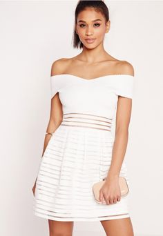 {{ MISSGUIDED US }} bardot bandage skater dress white CA$87.75