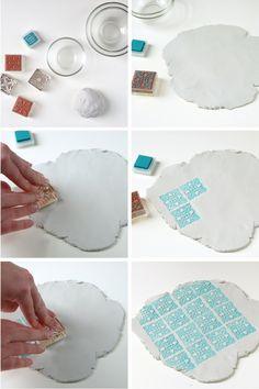 plat imprimé DIY en argile sans cuisson