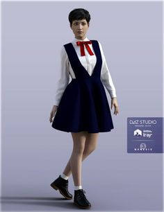 H&C School Uniforms A for Genesis 3 Female(s) | 3D Models for Poser and Daz…