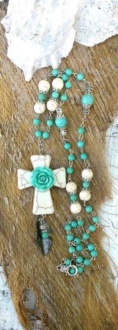 Turquoise Rose Cross Necklace Stone Cross by SecretStashBoutique